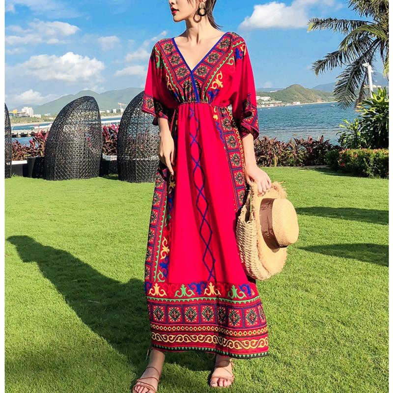 Bohemian Beach Dress 2019 Summer Women's National Wind V-neck Bat Sleeve High Waist Print Slim Temperament Large Size Dress Le49