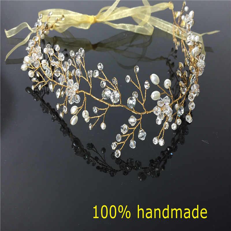 Bandeau de mariée en cristal magnifique bandeaux de mariage en strass accessoires de cheveux diadèmes de mariée bandeaux de ruban de mariée RE597