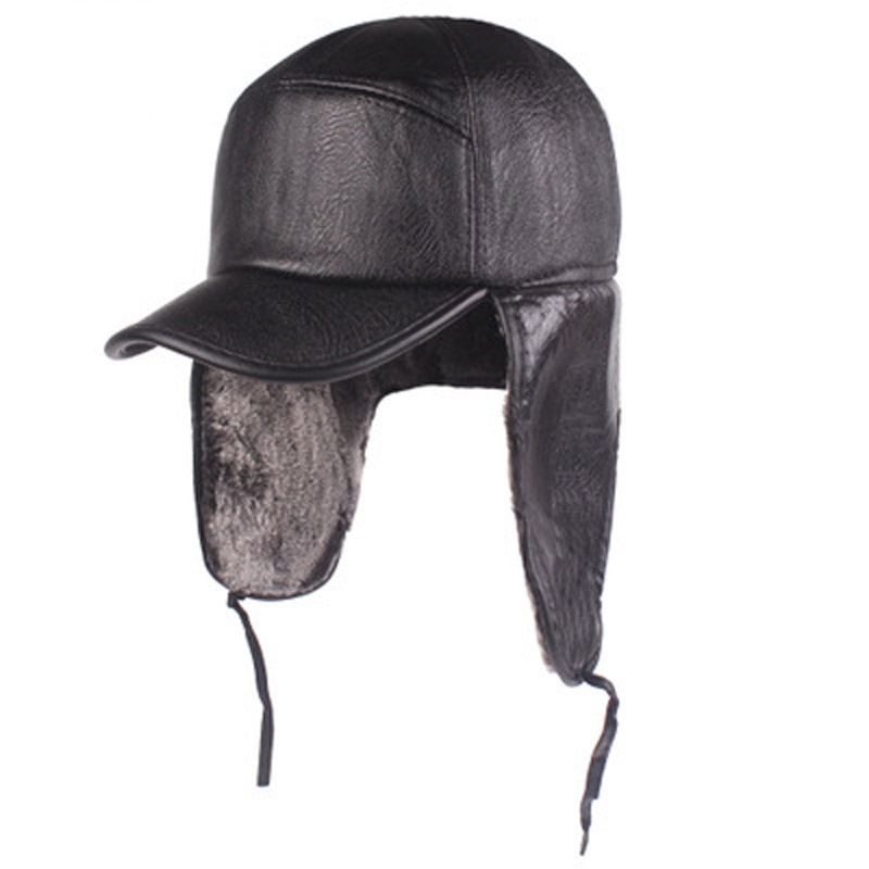PFDDCR Men's Ear Protector Cap In Autumn and Winter, Cortical Old Head Cap, Locomotive Leather Cap, Middle aged and Old People's