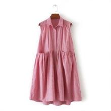 European 2017 Summer Womens Casual Check Dress Sleeveless Loose Pocket Vestidos Femme Fashion Shirt Dresses