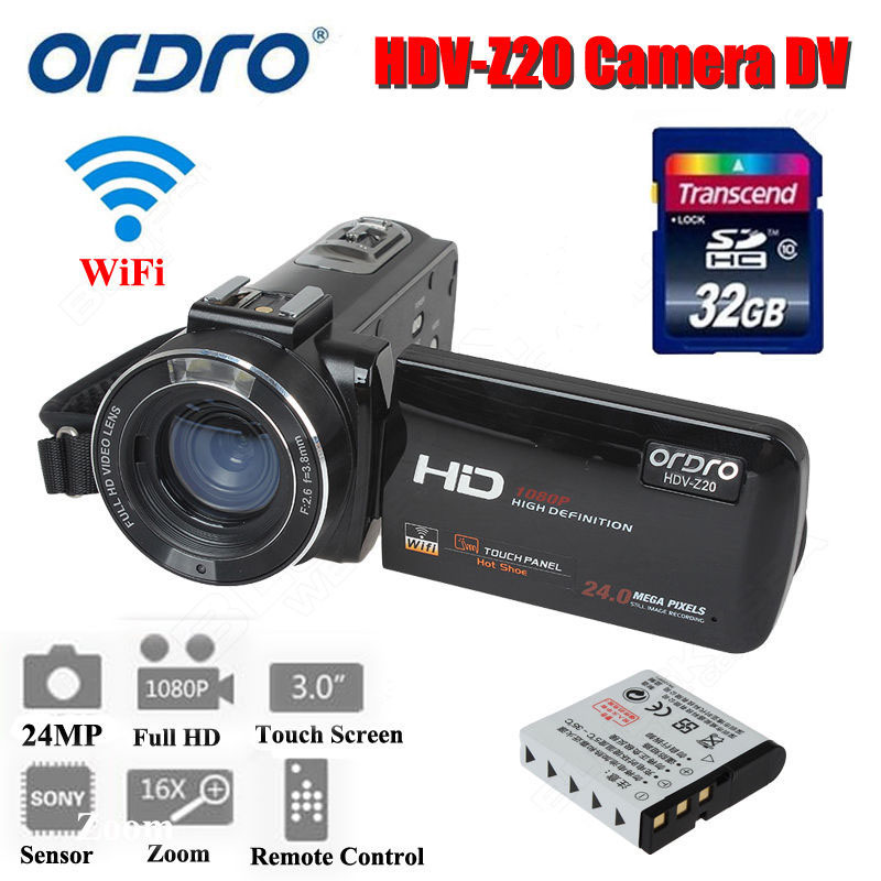 ORDRO HDV-Z20 Digital Video Camera Camcorder 3.0 Touch Screen 1080P Full HD 16X Zoom 24MP Face Detection LED Fill-in Light DV image