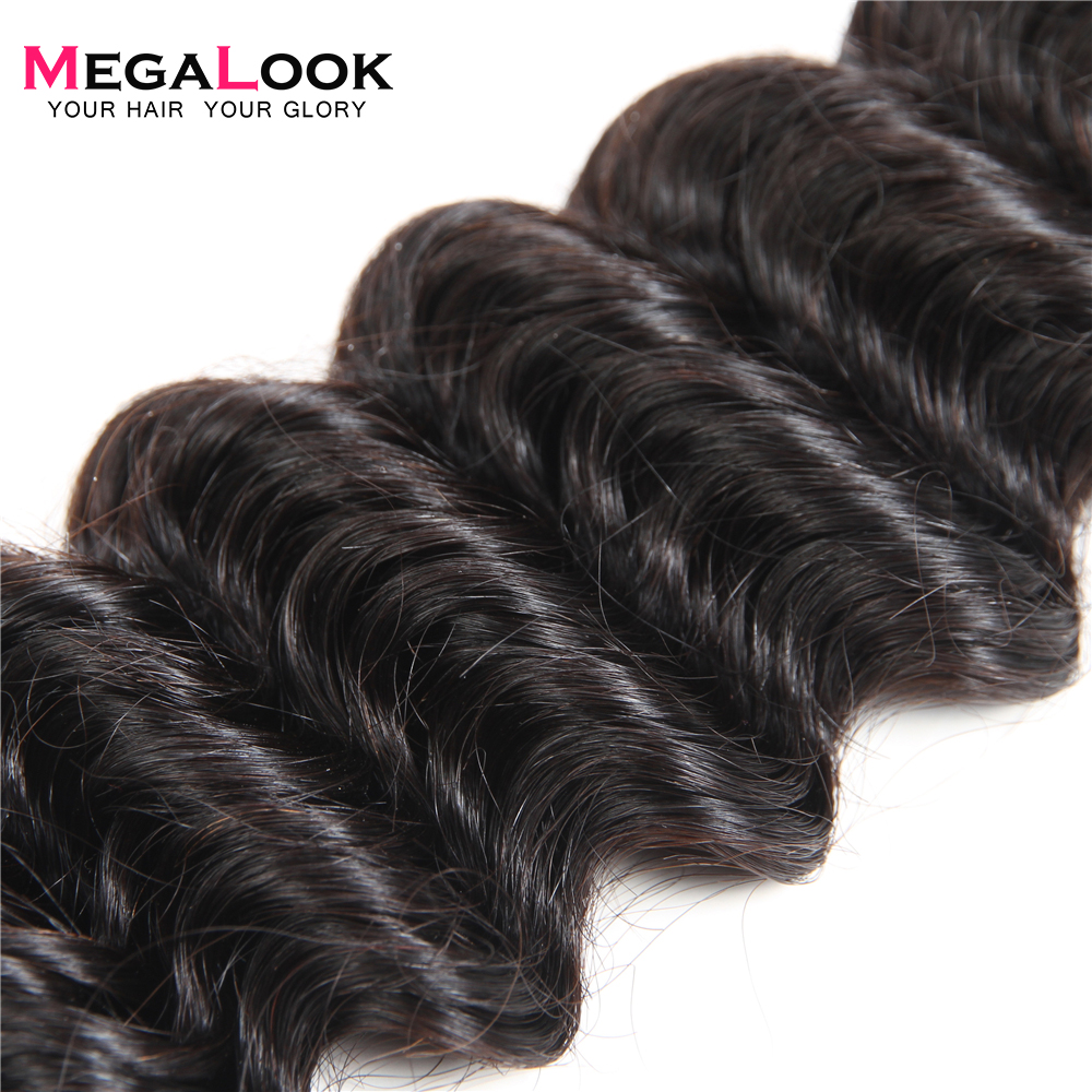 Megalook Indian Deep Wave Hair Bundles 3pcs Deep Human Hair Extension 8 36inch Remy Hair Weave