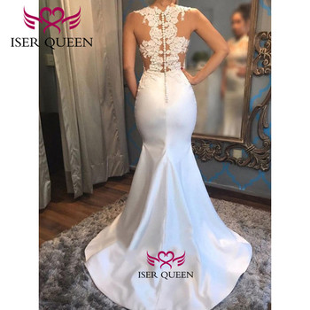 Embroidery and Appliques Satin Mermaid Wedding Dress Illusion Bride Dress 2019 Spanish Style Button Back Design Mermaid w0591 2