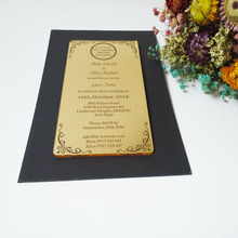 Customized 100*180mm laser engraved letters luxurious golden mirror acrylic wedding invitation card (1lot=100pcs)