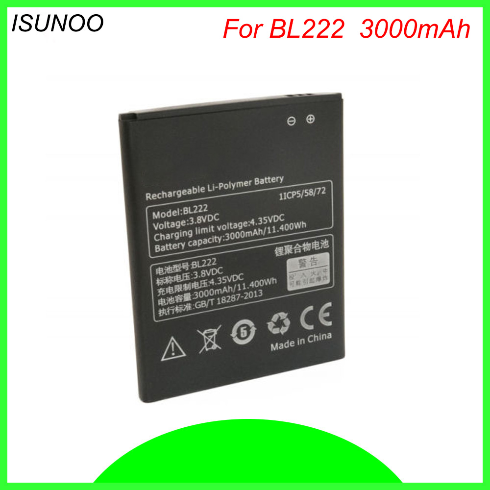 ISUNOO BL222 <font><b>BL</b></font> <font><b>222</b></font> Cell Phone Battery For Lenovo S668T S660 3000mAh Mobile Phone Replacement Li-Polymer Batteries image