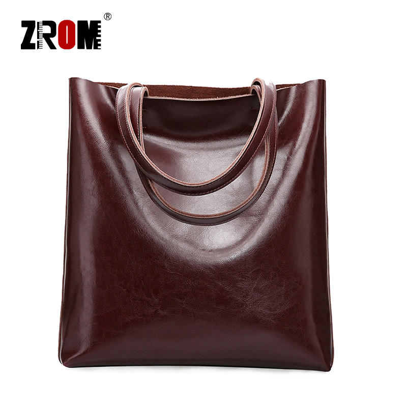 ZROM Real Genuine Leather Handbags Big Women Tote Bags Female Fashion Designer High Quality Office Ladies