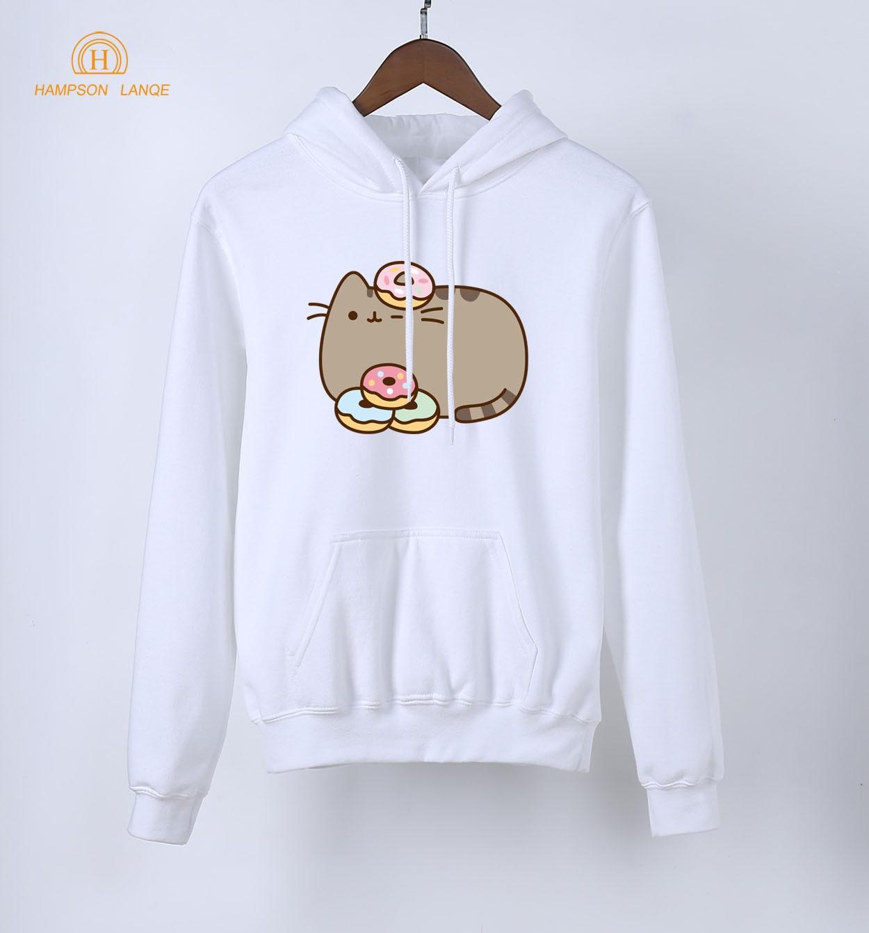 For Girls Fat Cat & Donut Print Kawaii Hoodies Women 2018 New Style Spring Autumn Brand Sweatshirt K-pop Hoodie Pink