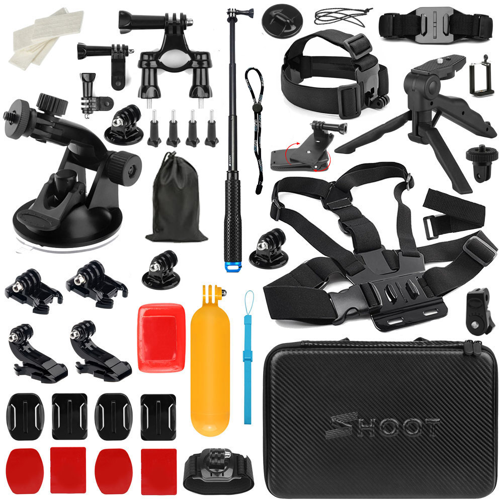 SHOOT Action Camera Accessories mount for GoPro Hero 6 5 7 Xiaomi Yi 4K Sjcam Sj9000 Sj4000 Eken H9 H9r Go Pro Hero 7Accessories shoot action camera accessories set for gopro hero 5 6 3 4 xiaomi yi 4k sjcam sj4000 h9 chest strap base mount go pro helmet kit