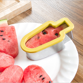 1pcs Yellow Watermelon Cutter Creative Stainless Steel Ice Cream Shape Watermelon Slicer Ice Stick Model Fruit Tools форма для нарезки арбуза