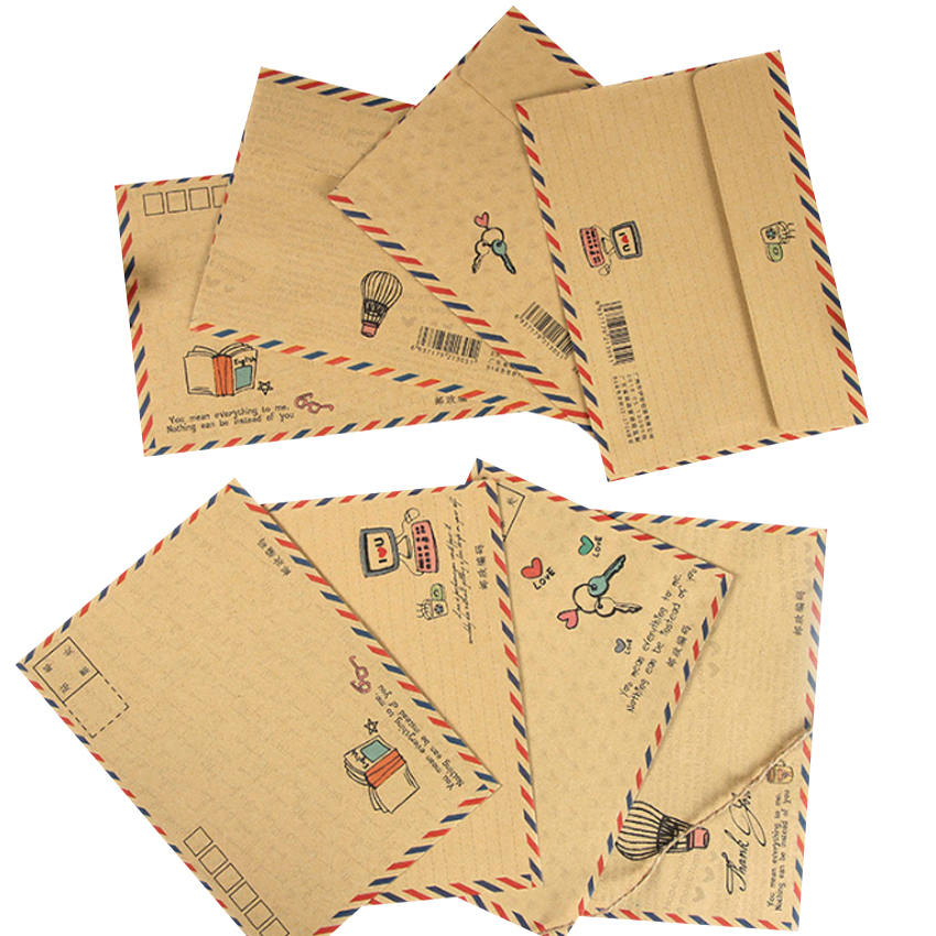 8pcs/pack Vintage Kraft Paper Envelope Mailed Postcard Cover Greeting Cards Envelope Office And School Supplies