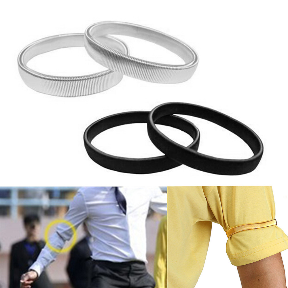 1Pc Men Shirt Sleeve Holder Casual Elastic Armband Anti-slip Metal Armband Stretch Garter Wedding Elasticate Armband Accessories