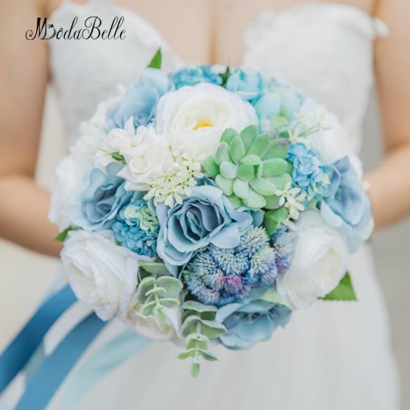 Modabelle suculentas pantai gaya pedesaan pernikahan buket for How are blue roses made