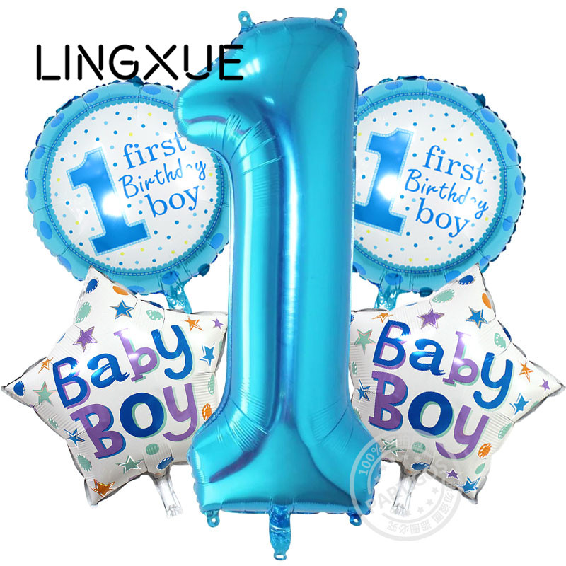 5pcs pink Blue Number Foil Balloons Baby 1st Birthday balloon birthday party dec