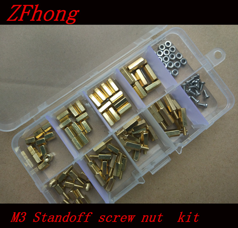 200pcs M3*6/8/10/12  M3 (3mm) Brass Standoff Spacer M3 Male x Female Thread Long 6mm With Hex Nuts Assortment Kit m2 3 3 1pcs brass standoff 3mm spacer standard male female brass standoffs metric thread column high quality 1 piece sale