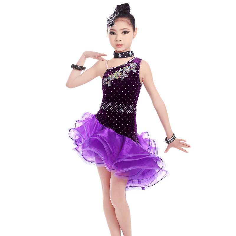 Attaché noir Latin robe filles velours salle De bal Latin danse porter enfants froid épaule Vestido De Baile Latino à vendre - 4