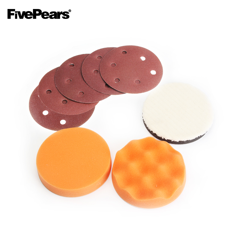 "FivePears 8pcs 5"" 125mm 6"" 150mm Polishing Foam Pad Air Sanding Disc Pad Pneumatic Sander Accessories set|Polishing Pads| |  - title="