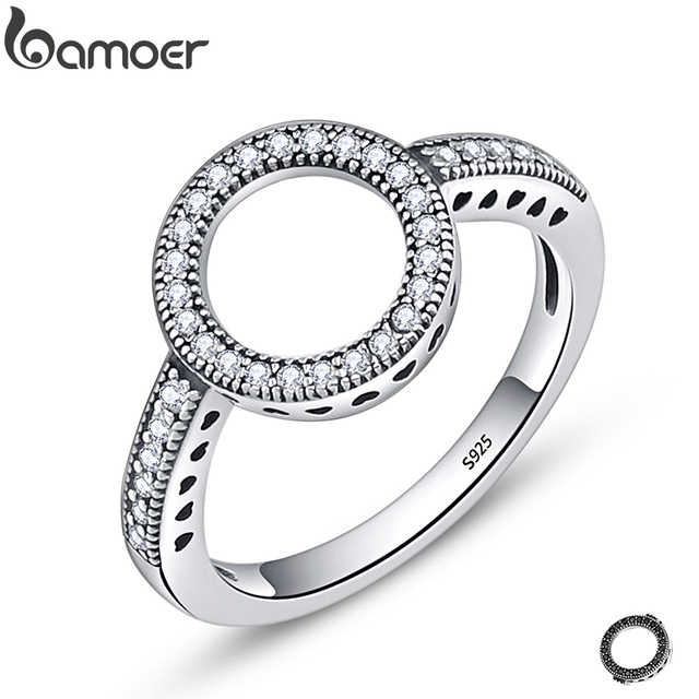 BAMOER 100% Genuine 925 Sterling Silver Forever Clear Black CZ Circle Round Fing