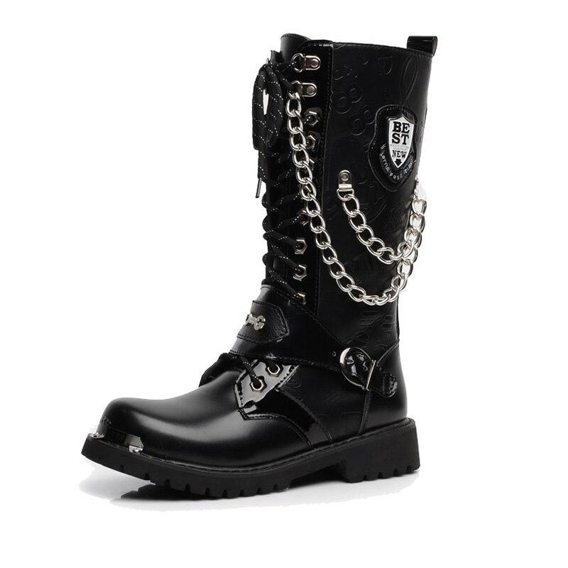 corrente masculino motocicleta punk botas primavera sapatos masculinos rocha