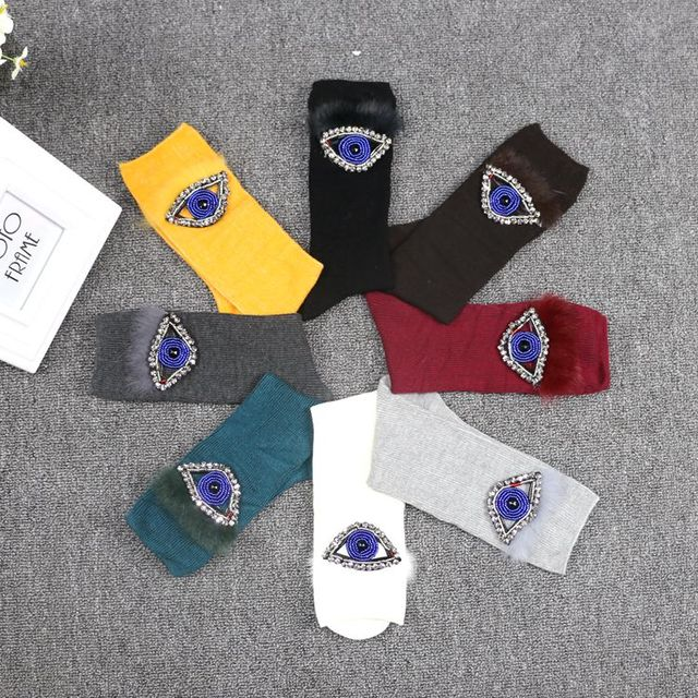 Rhinestone beads socks fashionista Europe new winter hand sewn in tube socks socks diamond fox eyes