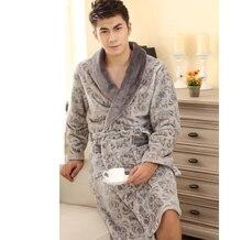 Autumn winter thick flannel robe  male long coral fleece bathrobe man plus size brand sleepwear large nightgown