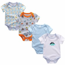 4pcs/lot Short Sleeve Summer children clothing 100%cotton baby Jumpsuit O-neck baby Rompers Boy Girl Cloth Roupas Infantil(China)