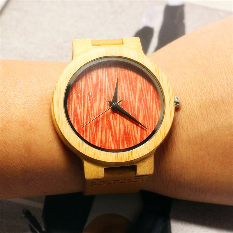 Top Branded HOTIME Leather Bamboo Wristwatches For Women&men Gift Bamboo Watch With Wood Grain Watch Dial Relogio Masculino