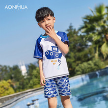 AONIHUA Baby Swimwear Swimsuit for Boys Surf Clothing Swimwear Children Swimsuit Short Sleeve Toddler Swiming Suit Boys 1052 stylish short sleeve anchor print color block sun resistant swimsuit for boys
