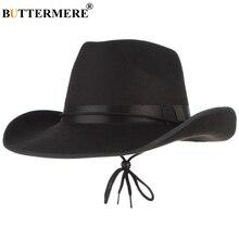 BUTTERMERE Felt Cowboy Hat For Men Black Fedora Spring Autumn 2019 New Edge Cap Male Western