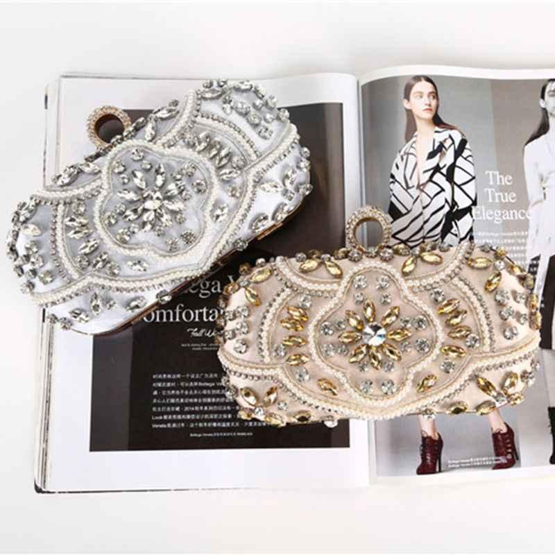 Вечерние сумки алмазное свадебное с жемчужными бусинами клатч женская сумка сумки кошельки Вечерний Клатч Серебряный клатч вечерние сумки