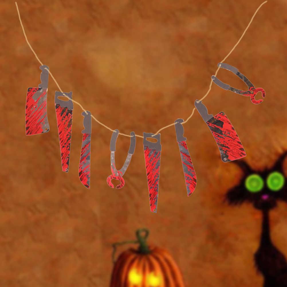 2 шт. Гори оружие нож игрушка в виде ведьмы бумага Гарланд страшный ужас нож s гирлянда Хэллоуин реквизит приспособления для декора вечеринки висящий баннер