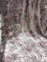 3d кружевная ткань с роскошные бусы 2018 высокое качество кружевная цветоная аппликация высокого качества для свадьбы dress5yard/лот