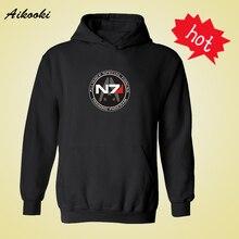 Mass Effect N7 Hooded Mens Long Sleeve Hoodies Mens Hip Hop with Sweatshirt Men Luxury Brand Casual Hoody xxs-4xl Black White