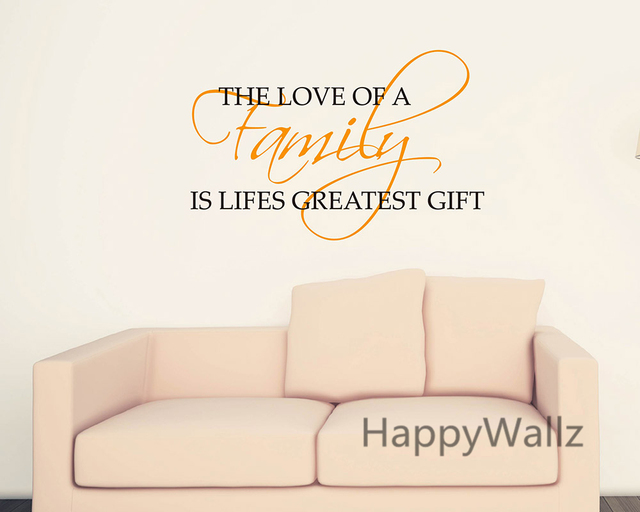 Love Of Family Is Lifeu0027s Greatest Gift Home Quotes Wall Sticker DIY  Decorative Home Family Quotes
