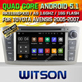 WITSON Android 5.1 Quad Core АВТОМОБИЛЬНЫЙ DVD для TOYOTA AVENSIS 2005-2007 СТЕРЕО GPS + 1024X600 HD + DVR/WI-FI/3 Г + DSP + RDS + 16 ГБ flash