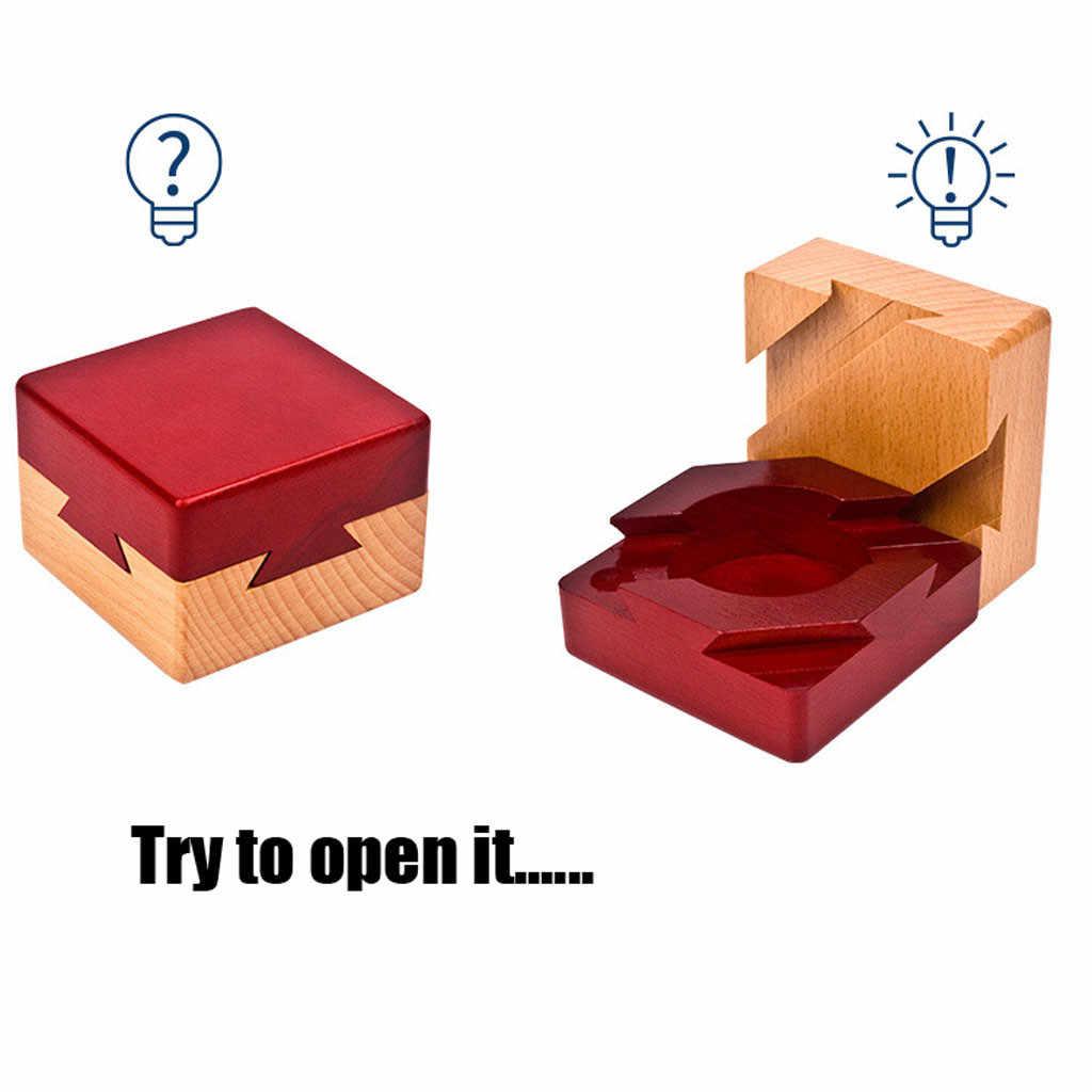 Puzzle De Madeira Segredo Compartimento Caixa De Presente Surpresa Escondida Quebra-cabeças para Crianças Adultos Anti-Stress Apaziguador Brinquedos