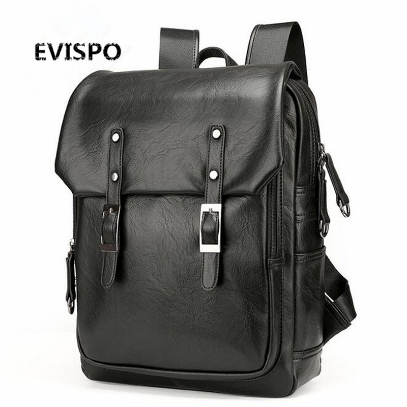 ФОТО High Quality England Vintage Style PU Leather Men Backpacks For College Preppy Style School Backpacks for 14 inch laptop bags