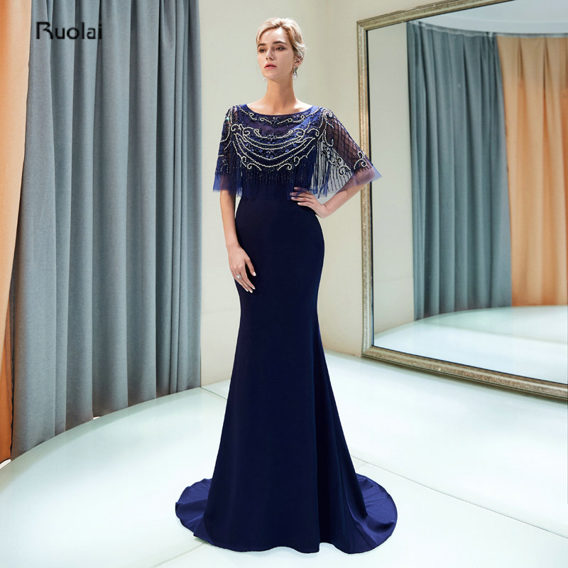 robe de soiree Navy Blue Luxury Evening Dresses Long 2019 With Cape Heavy Beaded  Evening Gowns c7baa09e8755