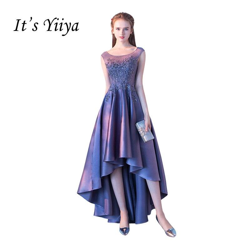 It's YiiYa New Purple Illusion Zipper High-low Asymmetry Vintage Elegant Flower Taffeta Prom Gown Prom Dress Dancing Party LX017
