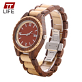 TTLIFE Mens Unique Designer Watch Ebony Wood Analog Date Display Fashion Natural Wooden Quartz Wristwatch Relogio Masculino 128A