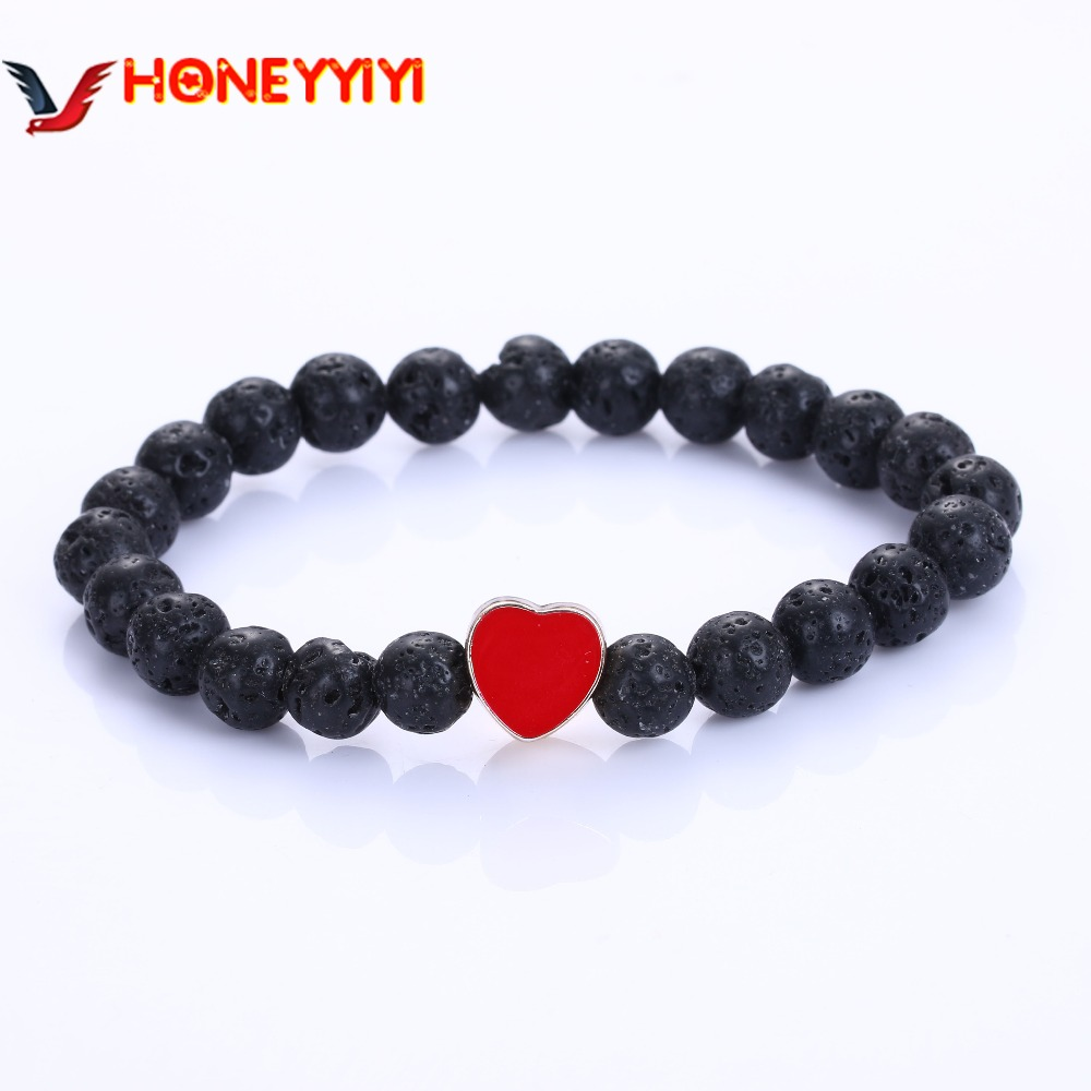 Vintage Natural Stone Black Lava Beads Bracelet Men Sliver /Gold Color Hamsa Hand Charm Owl Bracelets Boho Love Bead Jewelry