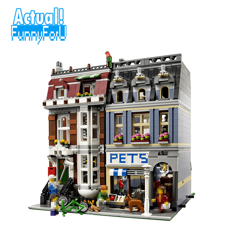 LEPIN 15009 Pet Shop Street View Creator Building Blocks Bricks Toys Educational For Children Compatible withINGly 10218 a toy a dream lepin 15008 2462pcs city street creator green grocer model building kits blocks bricks compatible 10185