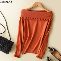 Off Shoulder Ruffle Knitted Sweater Women Casual Loose Pullover Cashmere Sweater Female Soft Warm Spring Casual