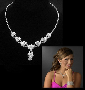 Fashion Silver Tone Crystal Tennis Choker Necklace Set Earrings Factory Price Wedding Bridal Bridesmaid African Jewelry Sets 16