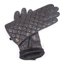 Autumn Winter New Woman Genuine Leather Gloves Imported Sheepskin Classic Checkered Embroidery Female Driving Mittens EL037NN