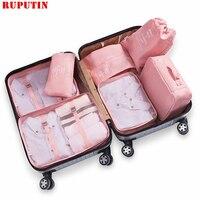 RUPUTIN 7 Teile/satz Reise Gepäck Organizer Kleidung Lagerung Tasche Hohe Qualität Wasserdichte Kosmetische Toiletrie Tasche Reise Zubehör