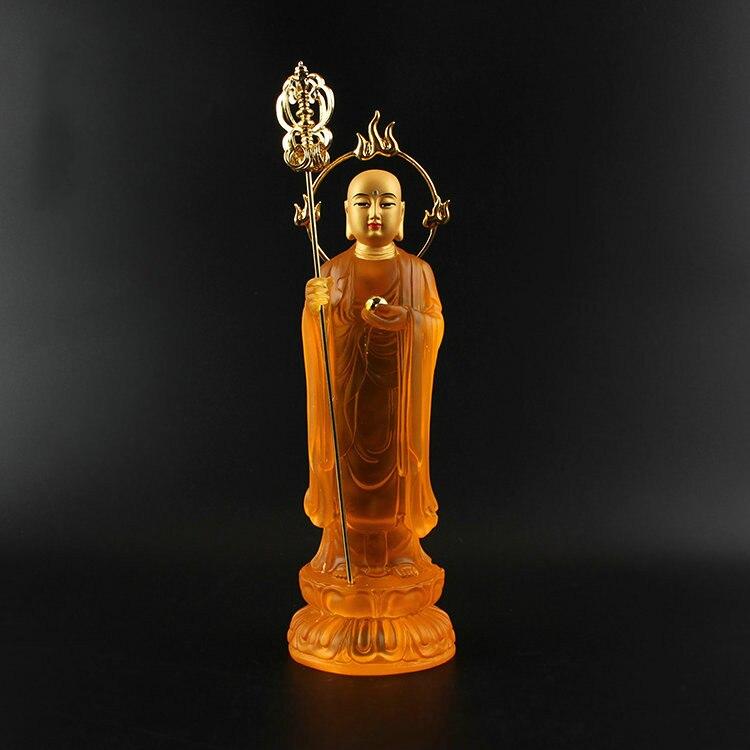 Тибетский Бодхисаттва, статуя Будды, водное стекло, тибетский король, Бодхисаттва, с подсветкой Искусственные стеклянные, стоящее пламя зол