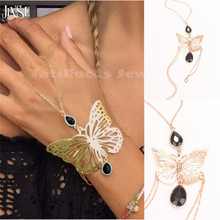 HC044 Womens Gold Alloy Hollow Butterfly Bracelet Chain Bangle Slave Hand Harness Waterdrop Black Gem Handchain