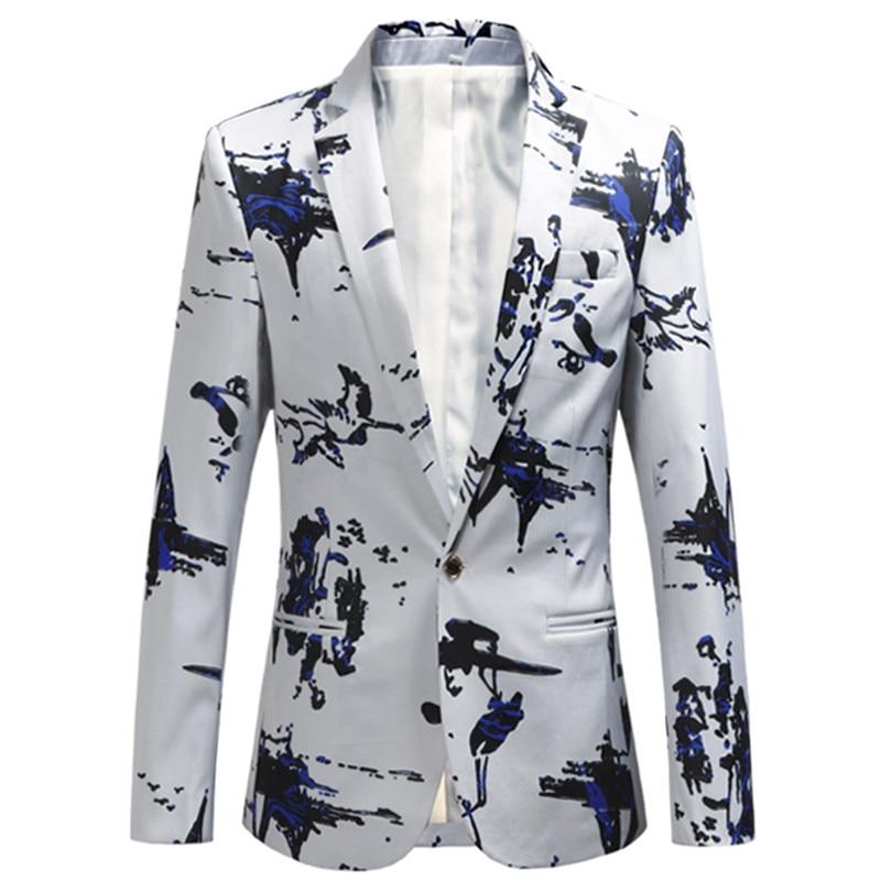 2018 Fashion New Men's Boutique Print Suit Coat / Men's casual blazers jacket