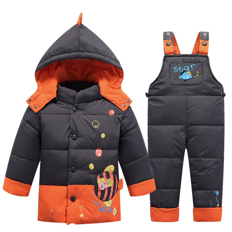 Kids Clothes Suits Baby Boys Girls Winter Down Coat 2017 Children Warm Jackets Toddler Outerwear +Pant Baby Clothing Set children winter coats jacket baby boys warm outerwear thickening outdoors kids snow proof coat parkas cotton padded clothes