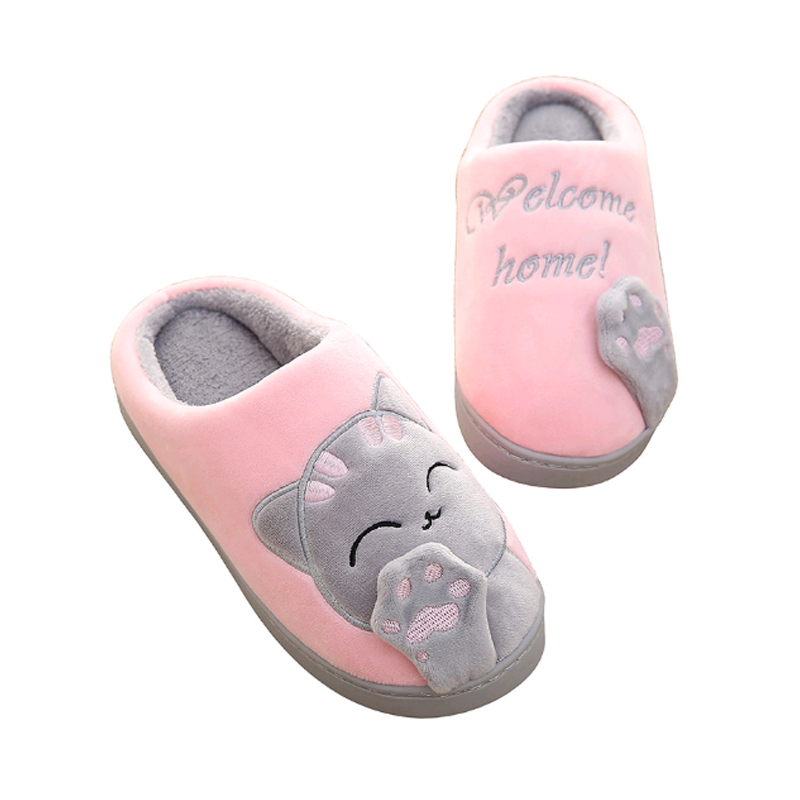 Shoes Women Of Winter Plush Home Slippers Cartoon Cat Home Non-Slip Soft Slippers Winter Warm Indoor Bedroom Couple Floor Shoes 2017 new home slippers women emoji soft cute cartoon slippers for women winter warm plush indoor home shoes winter soft cotton